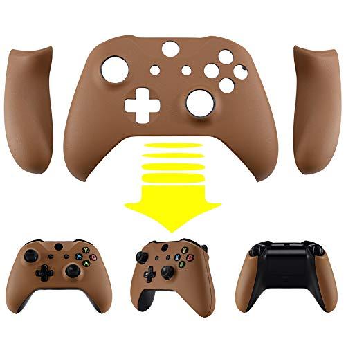 eXtremeRate Controller Griffe Case für Xbox One X/S Controller,Gehäuse Hülle Case Griffe PU-Leder Schale Faceplate Ersatzteile für Xbox One X/S Controller Modell 1708(Braunes PU-Leder)
