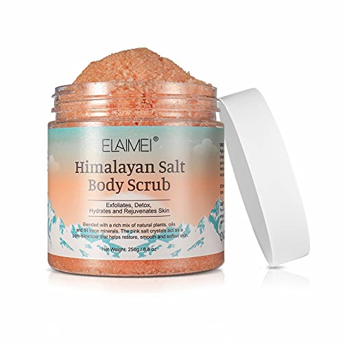 Body Scrub, Himalayan Salt Body Scrub with Lychee Oil Exfoliating Salt Scrub to Exfoliate Moisturize Skin, Deep Cleansing Moisturizing Body Scrub Exfoliating Salt Scrub