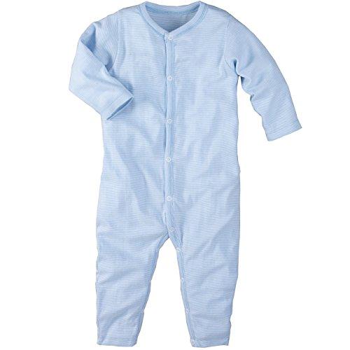 wellyou, Schlafanzug, Pyjama für Jungen und Mädchen, Einteiler langarm, Baby Kinder, hell-blau weiß gestreift, geringelt, Feinripp 100% Baumwolle:, Blau, 104 - 110