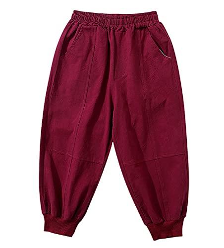 ZRFNFMA Ropa de los niños de los niños de la moda casual pantalones de los niños de la mitad de la longitud pantalones grandes, rojo vino, 160