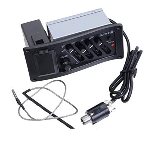 EQ-7545R Akustikgitarren-Tonabnehmer Gitarren-Vorverstärker-Verstärker 6,5 mm Klinkenausgang Schaltkasten-Gitarrenzubehör - Schwarz
