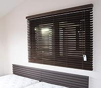 [窓美人] 木製タイプ 「ウッドブラインド ダークブラウン スラット50 幅40x丈100cm