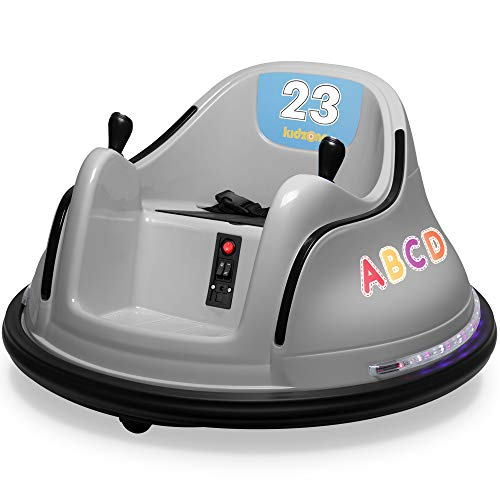 Kidzone 12V 2 Speed Bluetooth Music Kids Toy Electric Ride On Bumper Car 360 Spin Battle Vehicle with Remote Control  DIY Race# 00-99 and Alphabet Stickers  ASTM-Certified  Gray