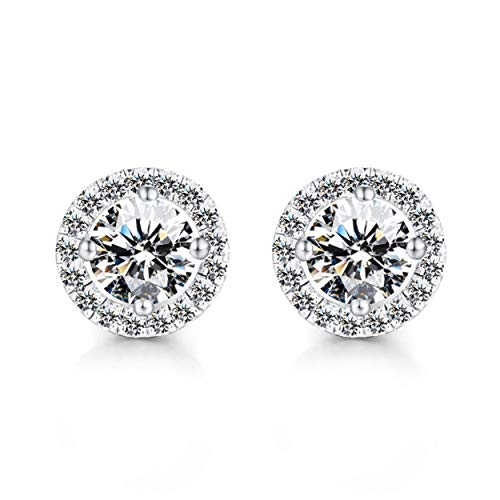 Tsubaya Korean Fashion Diamond-studded Zircon Earrings Luxury 925 Sterling Silver Round Cubic Zirconia Earrings Silver