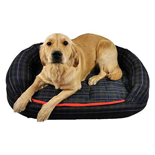 Romneys DogBed Tartan | Das gemütliche Hundebett mit Matratze und Thermo-Hundedecke | Waschbar, ergonomisch, isolieren - Ideal auch für ältere Hunde (XL (112 x 76 cm), Blau-kariert)