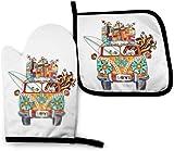 N\A Hippies Boho Bus con Peace Love Kitchen Oven Mitt Pot Holder Set, Resistencia al Calor Antideslizante Soportes para Guantes para Barbacoa Cocinar Hornear Parrilla Microondas
