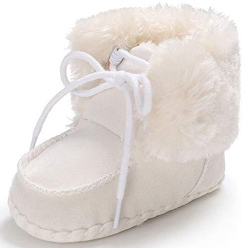 Sisttke Schneeschuhe Baby Jungen Mädchen Lauflernschuhe Winter Warme Stiefel für Neugeborene,6-12 Monate,Weiß