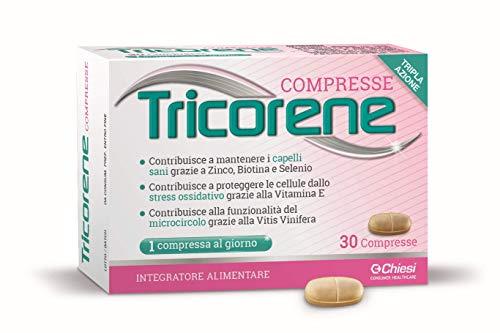 Tricorene 30 compresse - Integratore Alimentare che contribuisce al mantenimento dei capelli sani grazie a Zinco, Biotina e Selenio. Una volta al giorno. Senza glutine.