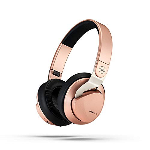 Mixx Audio | JX2 Bluetooth Wireless/Wired Stereo Over-Ear Headphones - Rose Gold - 14 Hours Play - 3.5mm Audio Cable for In-Flight use - Noise Isolating + Foldable Design, One size