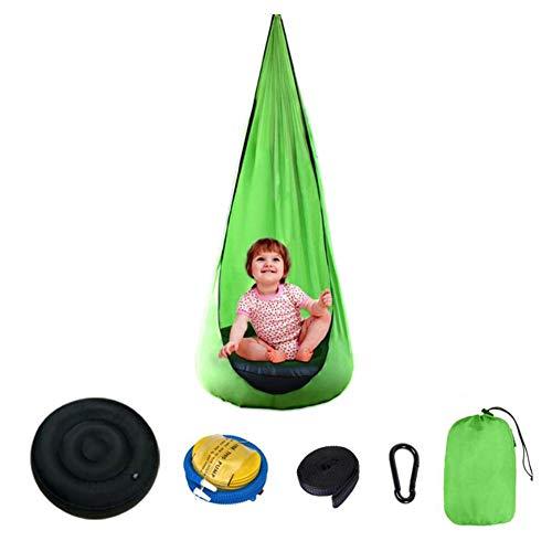 Kids Pod Schaukelsitz, Kinder Hängemattenstuhl mit aufblasbarem Kissen Hängemattenstuhl, für den Innen- und Außenbereich