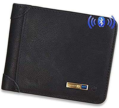 Smart LB Smart Anti-Lost Wallet with Alarm, Bluetooth, Position Record (via Phone GPS), Cowhide Leather Purse Retro Style (Black, Horizontal) from Smart LB