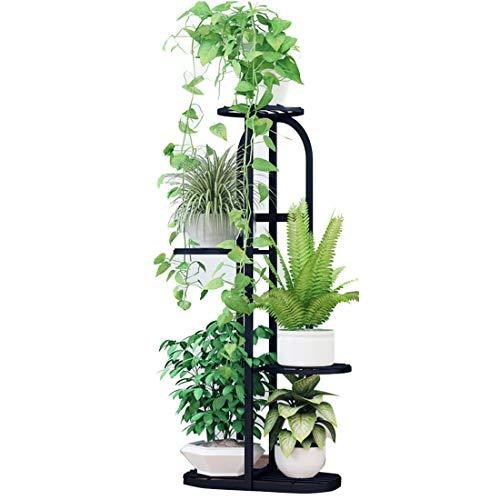 wangxike Estantería para Macetas Soporte para Plantas de Metal, Decorativa Plantas Exterior Interior Balcón Jardín con 5 Estantes - 82 x 45 x 22cm