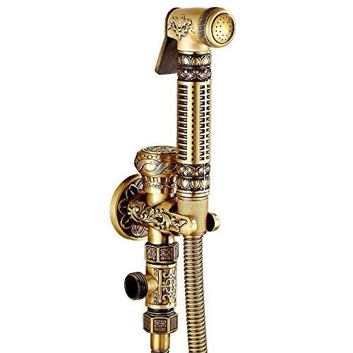 G1 / 2 (4 puntos) Grifos de rociador de inodoro de bronce antiguo de estilo europeo Bidet Bidet Juego de descarga Válvula de ángulo Grifos de presurización