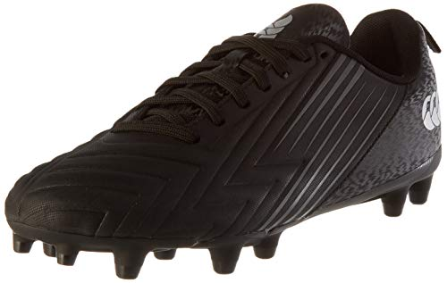 Canterbury Speed 3.0 Firm Ground, Zapatillas para Rugby Hombre, Negro/Gris Oscuro/Plata Claro, 42.5 EU