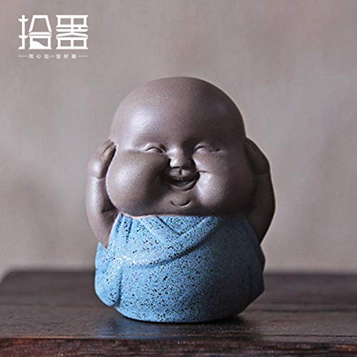 ADDER 1pc 2018 Chinese Style Purple Clay Tea Pet Purple Decoration Buddha Little Monk Mini Cute Tea Pet Tea Accessories Gift,3