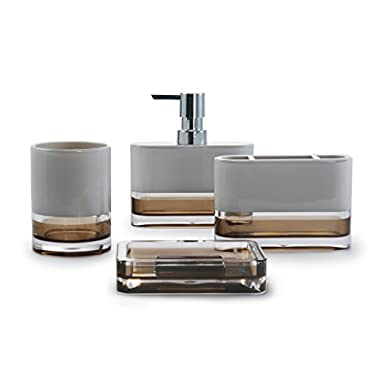 IMMANUEL Float Designer 4-Piece Elegant, Beautiful, Translucent Bathroom Accessory Set (includes Tumbler, Toothbrush Holder, Lotion Dispenser and Soap Dish) – Made with Durable Acrylic - Brown