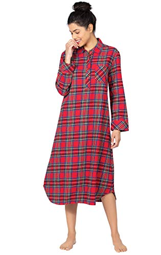 PajamaGram Womens Flannel Nightgown Women - Christmas Nightgown, Red, XS / 2-4