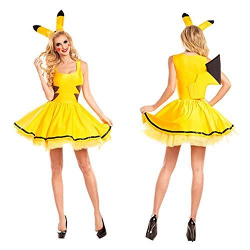 NC Disfraces de Navidad para Mujeres Sexy de Talla Grande Pokemon Pikachu Disfraz Cosplay Fiesta de Navidad Vestido de fantasía Animal Adulto Carnaval