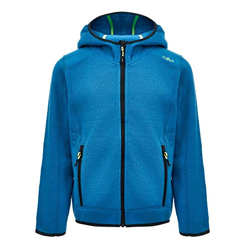 CMP Jungen Knit Tech Polyester-Strickfleecejacke mit Kapuze Fleece Jacket, River-Antracite, 140
