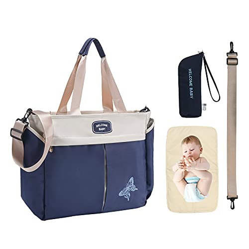 Diaper Bag Tote Bag with Insulated Baby Bottle Bag and Changing Mat, Large Travel Diaper Bag for Mom and Dad, Multifunctional Baby Bag for Boys and Girls, (Blue)