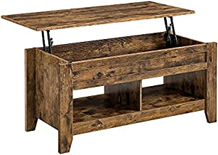 YAHEETECH Modern Lift Top Coffee Table w/Hidden Storage & 2 Open Shelves for Living Room Reception Room Office Rustic Brown