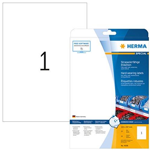 HERMA 4698 Wetterfeste Folien-Etiketten DIN A4 (210 x 297 mm, 25 Blatt, Polyesterfolie, matt) selbstklebend, bedruckbar, extrem stark haftende strapazierfähige Klebefolie, 25 Klebeetiketten, weiß
