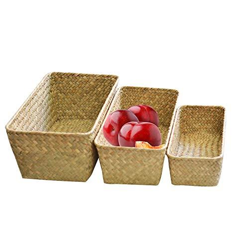 AZX 3 pcs Juego de cestas de Almacenamiento, Cajas Mimbre de almacenaje (Color Natural)