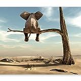 murando - Fototapete Elefant auf dem Baum 350x256 cm - Vlies Tapete - Moderne Wanddeko - Design Tapete - Wandtapete - Wand Dekoration - Wüste Tier Abstrakt Natur Himmel für Kinder...