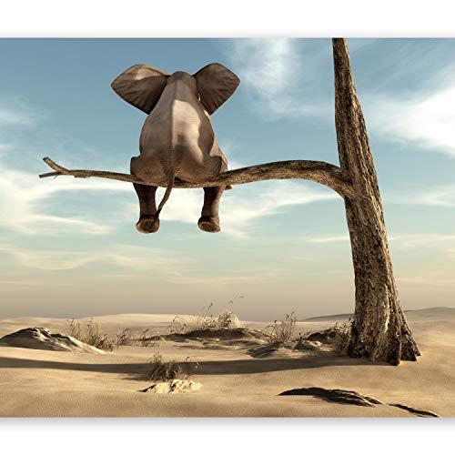 murando Fototapete Elefant auf dem Baum 250x175 cm Vlies Tapeten Wandtapete XXL Moderne Wanddeko Design Wand Dekoration Wohnzimmer Schlafzimmer Büro Flur Wüste Tier Abstrakt Natur Himmel g-B-0033-a-a