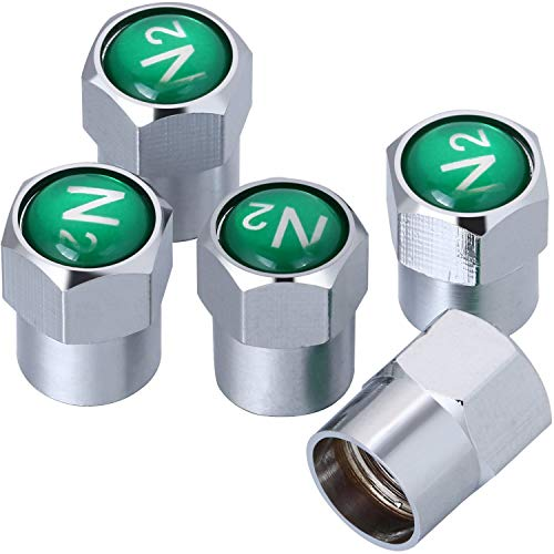 Onwon 5 Stück verchromtes Messing Reifenventilkappen N2 Stickstoff Zeichen Logo Staubdicht Ventilkappen für Auto Auto Auto Reifen Ventil