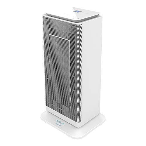 Cecotec Calefactor Cerámico Ready Warm 6400 Ceramic Sky Smart. Potencia 2000 W, Pantalla LED Superior, 3 Modos de Funcionamiento, Temporizador 24h, Oscilación, Mando a Distancia