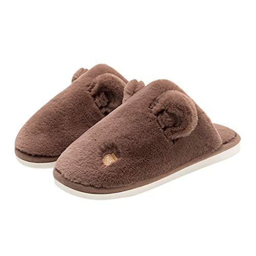 YIHANK Hausschuhe Plattform Flach Mit Warmen Boden Home Cuty Bär Ohr Schuhe Home Family Slipper Herrenschuhe