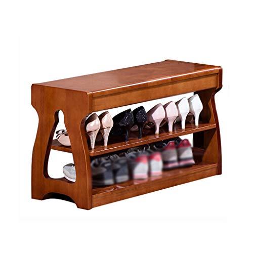 1yess Banco de Zapatos de Madera Maciza de 2 Capas, Estante de Almacenamiento de tacón Alto Dries del gabinete Sneaker Almacenamiento Rack Shoebox (Color: Marrón, Tamaño: 30 * 46 * 63cm)