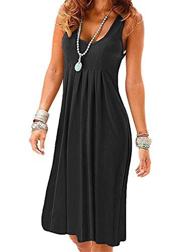 OMZIN Damen Strandkleid Midi Faltenrock Casual Kleid Einfarbig A-Linie Sommer Kleid Schwarz 2XL
