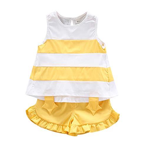Baby Mädchen Kleidung Set Streifen Weste Ärmellose T-Shirts Tops Spitze Shorts Kleinkind Outfits Set, Gelb, 2-3 Jahre
