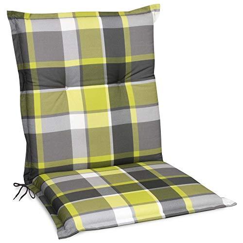 Beautissu Sunny GR Niedriglehner Auflage für Gartenstuhl 100x50 cm in Grün Kariert - Bequemes Sitzkissen Polsterauflage UV-Lichtecht - weitere Designs erhältlich