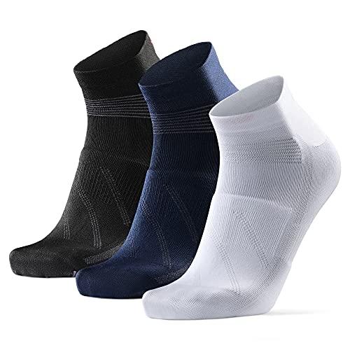 Calcetines de Ciclismo de Corte Bajo, para Hombres y Mujeres, paquete de 3 calcetines de bicicleta transpirables (De Varios Colores - 3 Pares (1 x Blanco, 1 x Negro, 1 x Azul), EU 35-38)