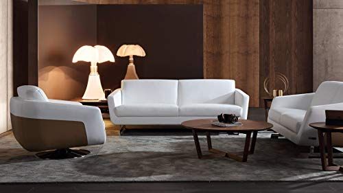 Zuri Furniture Modern Armondo Sofa in Two Tone White Microfiber Leather and Camel Accent