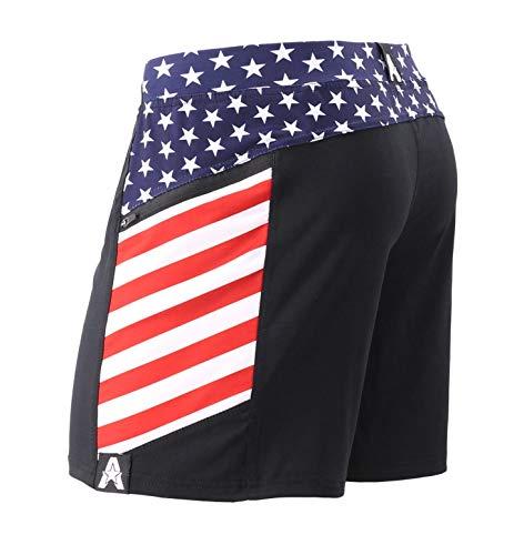 Anthem Athletics Hyperflex 5' Workout Training Gym Shorts - Black & American Flag G2 - Medium