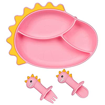 Silicone Suction Baby Plate with Spoon and Fork Dinosaur Baby Plate Set Baby Self Feed Utensils Baby Spoon Baby Fork Suction Plate