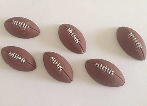 6 Edible Sports Balls,Rugby Soccer Footballs Basketballs Tennisballs golfballs; Choose Your Balls; 2.8cm Each; Handmade Cake/Cupcake Toppers / Decoration (C. 6 Rugby Footballs)