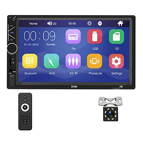 Double Din Car Stereo with Bluetooth 7 inch Capacitive Touch Screen FM Radio with USB TF Card AUX-in Port Support Mirror Link for iOS Android Phone + Rear View Camera and Remote Control