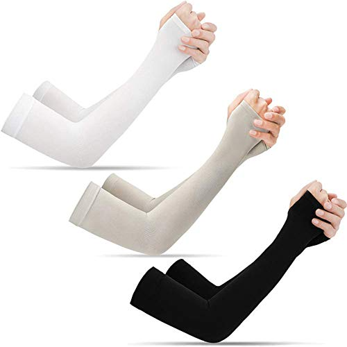 Ladiery 3/6 Pairs UV Sun Protection Cooling Arm Sleeves - UPF 50 Compression Long Arm Cover for Men & Women for Biking, Gardening, Driving, Fishing, Golf, Hiking