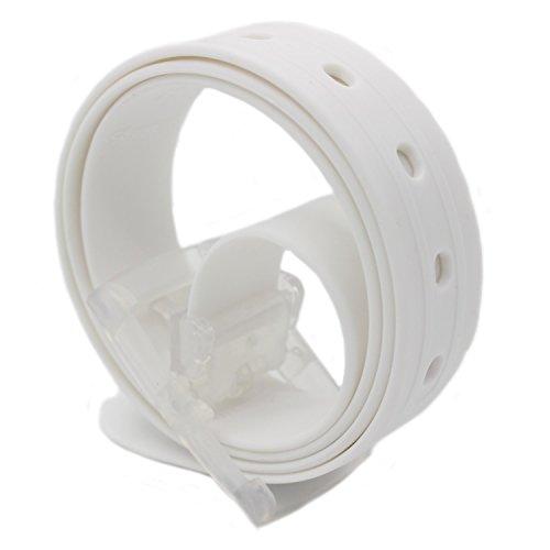 MEISHINE® 115 * 3.5cm Candy Colour Unisex Cintura in Silicone con Fibbia Plastica per Uomo Donna (Bianca)