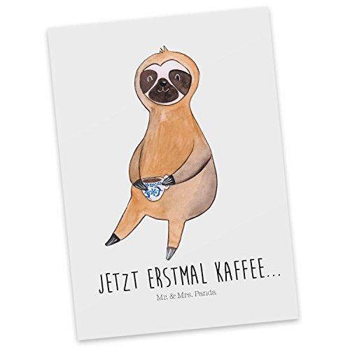 Mr. & Mrs. Panda Geschenkkarte, Grußkarte, Postkarte Faultier Kaffee mit Spruch - Farbe Weiß