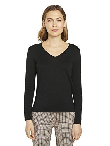 TOM TAILOR Damen Pullover & Strickjacken Pullover mit V-Ausschnitt Black,L,29999,2999