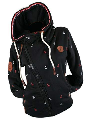 xy Chaqueta de entretiempo para mujer con capucha y forro polar Negro L