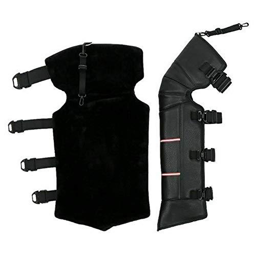 Fanville Unisex Zwart Leer Warm Knie Pad Motorfiets Knie Cover Anti-wind Warm Dikker voor Vrouwen Mannen Winter Outdoor 1 Paar