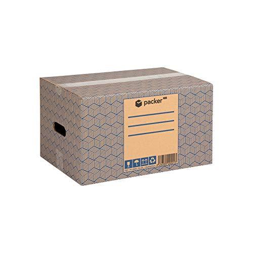 Pack 20 Cajas Carton para Mudanzas y Almacenaje 430x300x250mm Ultra Resistentes con Asas, 100% ECO Box | Packer PRO