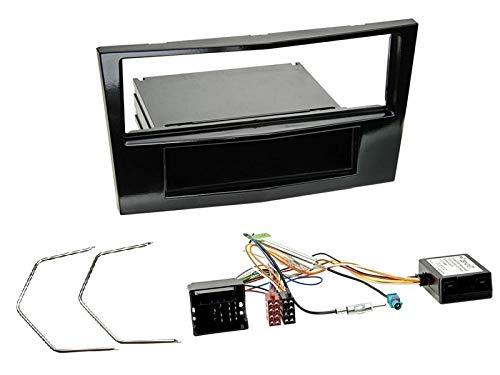 1 Din Radio Einbauset Blende Radioanschlusskabel Antennenadapter für Opel Corsa D (S-D) Piano Black mit Canbus